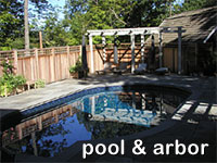click for images of the pool and arbor area